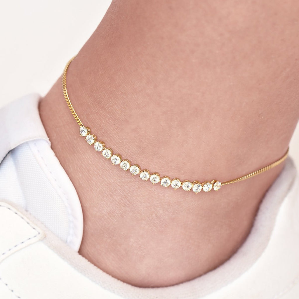 Luna Gemstone Anklet on model - gold
