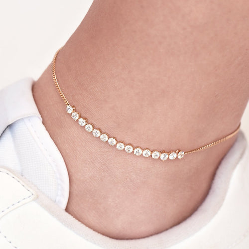 Luna Gemstone Anklet on model - rose gold