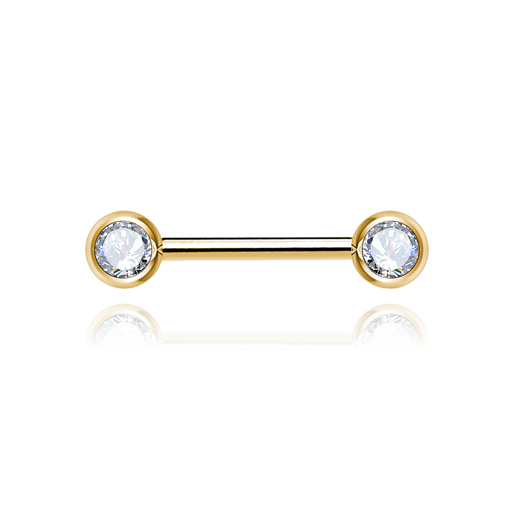 Swarovski Nipple Bar Piercing - gold