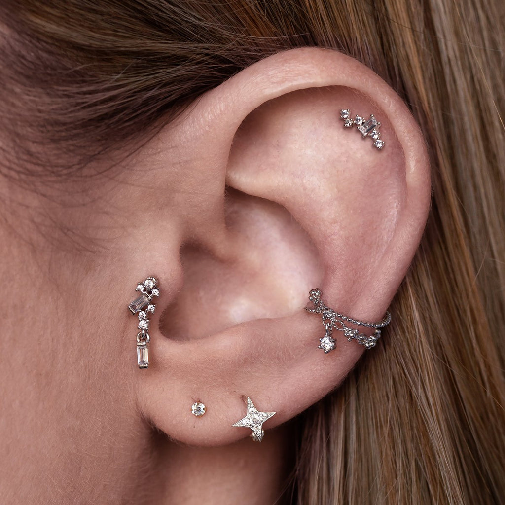 Oceane Ear Cuff on model - silver