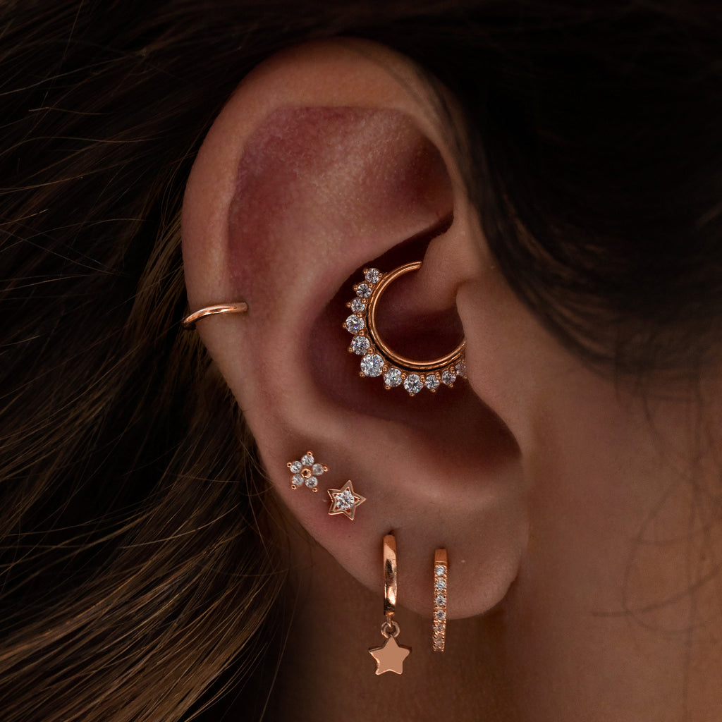 Forever Star Tragus Helix & Conch Piercing on model - 14K solid rose gold