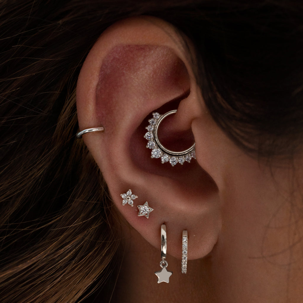 Momento Gem Hoop Ear Piercing on model - silver