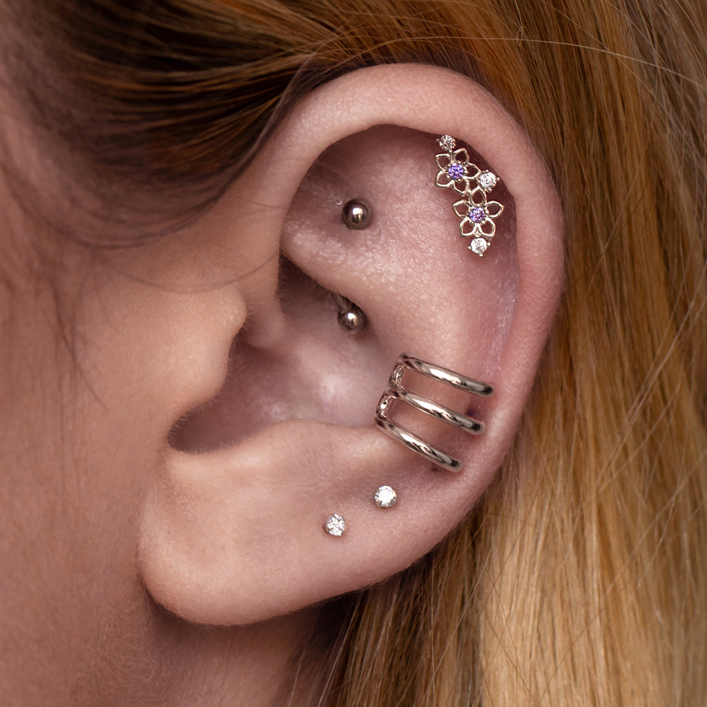 Twin Ball Daith & Rook Piercing on model - silver
