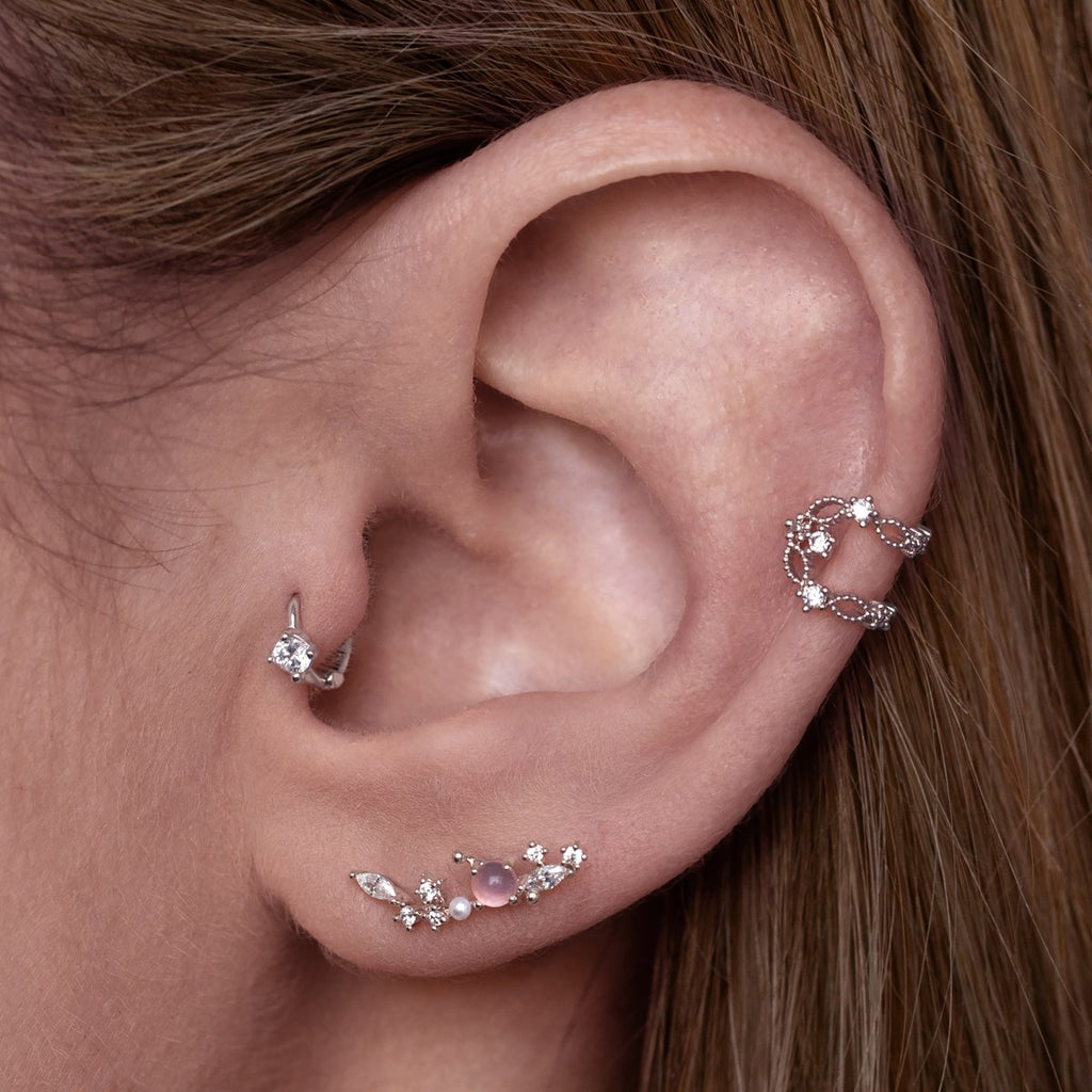 Celine Ear Cuff on model - silver