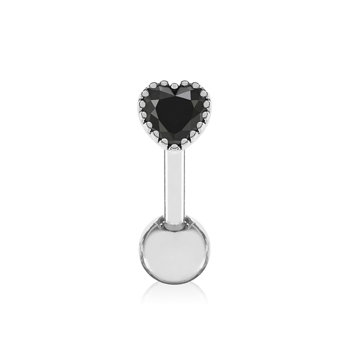 Solace Heart Gem Tragus Helix & Conch Ear Piercing - onyx