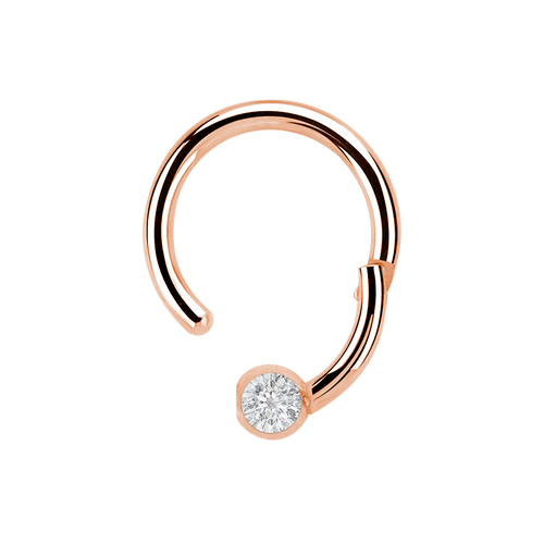 Solitaire Clicker Hoop Piercing opened - rose gold