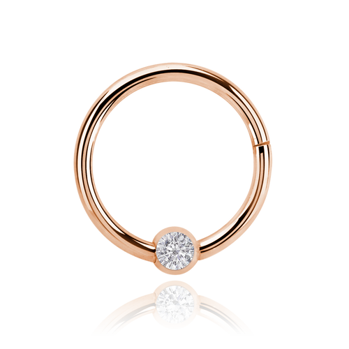 Solitaire Clicker Hoop Piercing - rose gold