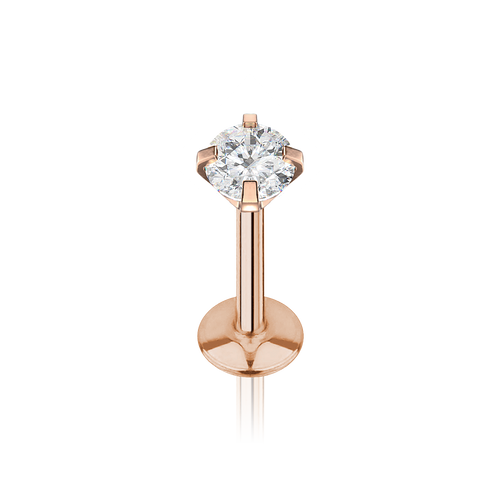 Solitaire Gemstone Tragus & Cartilage Piercing - rose gold