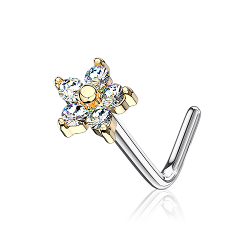 Sparkle Daisy Nose Stud Piercing - gold