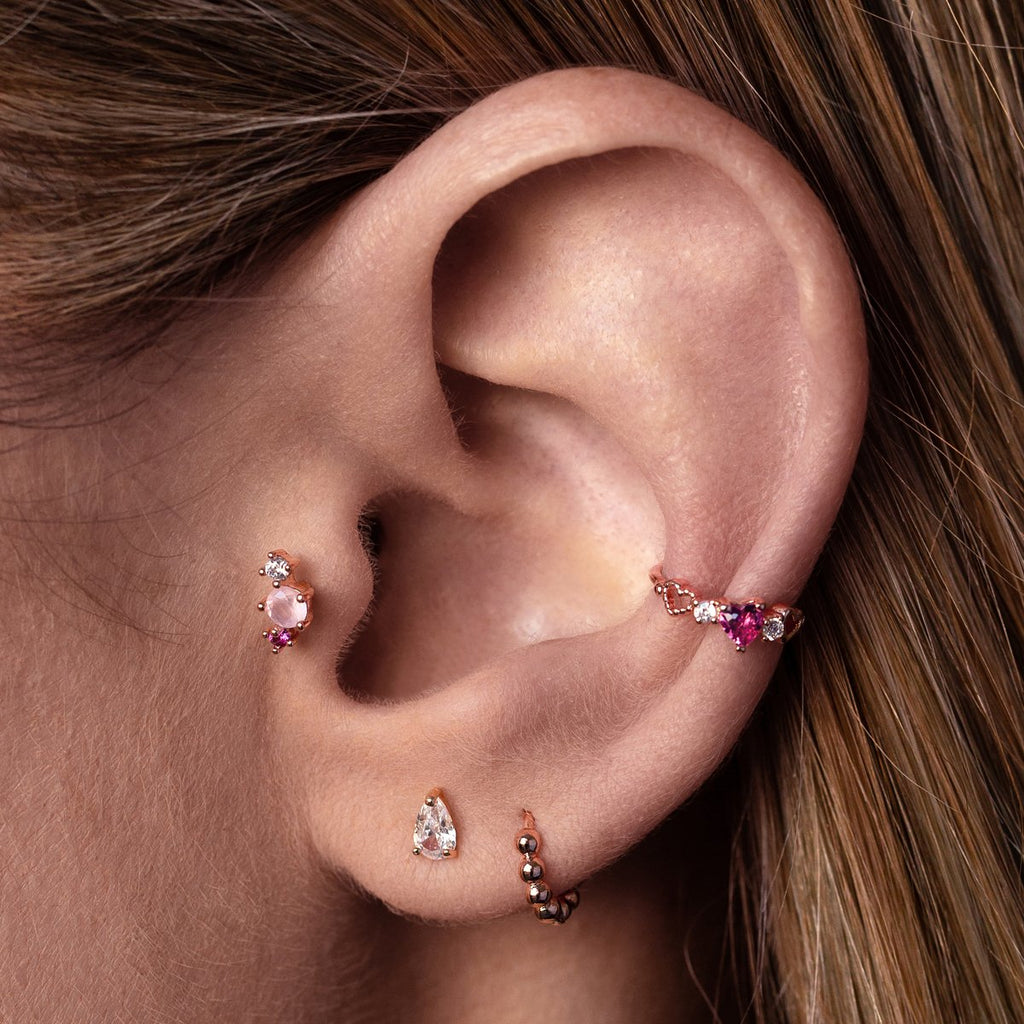 Fantasy Heart Ear Cuff on model - rose gold