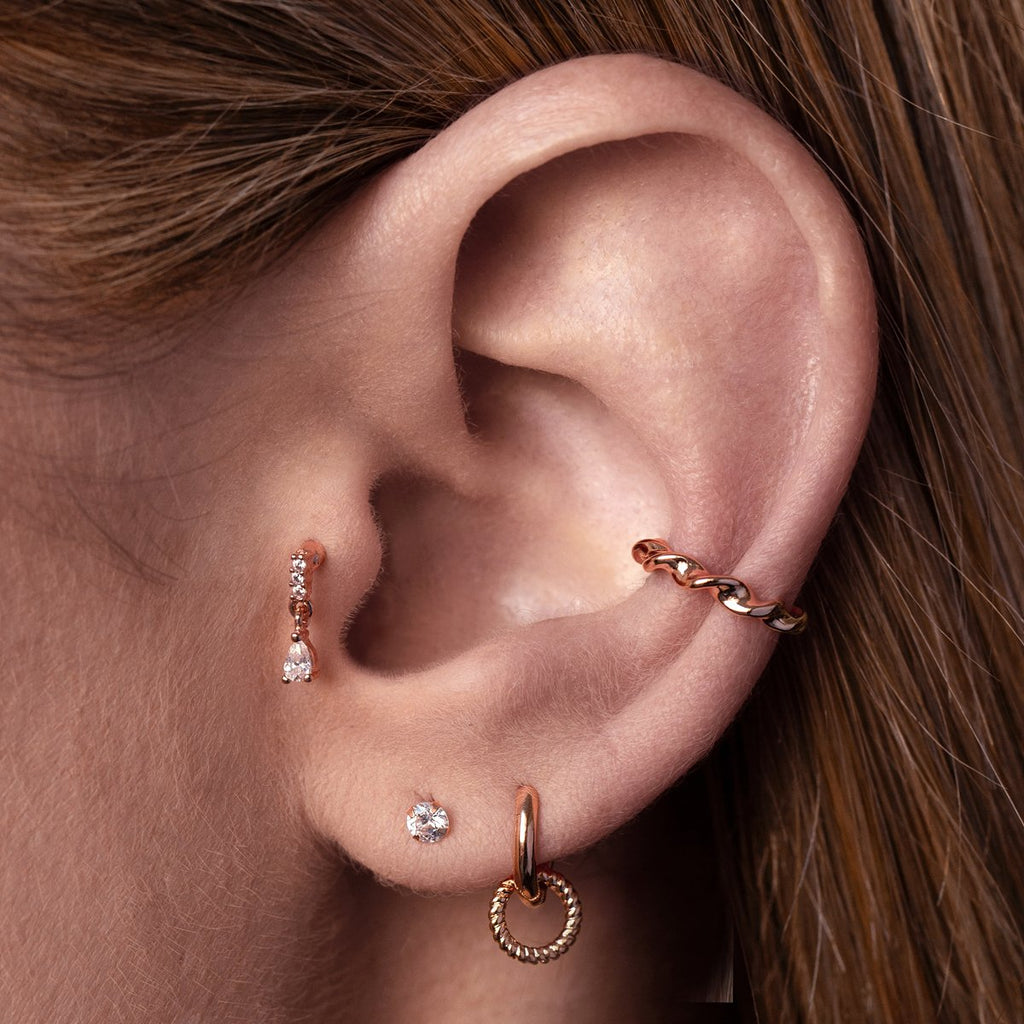 Entwine Ear Cuff on model - rose gold