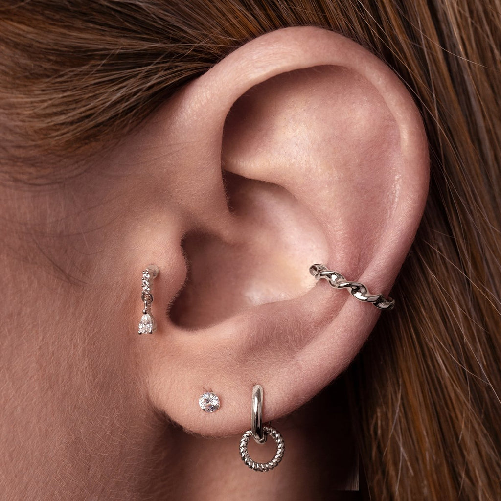Entwine Ear Cuff on model - sterling silver