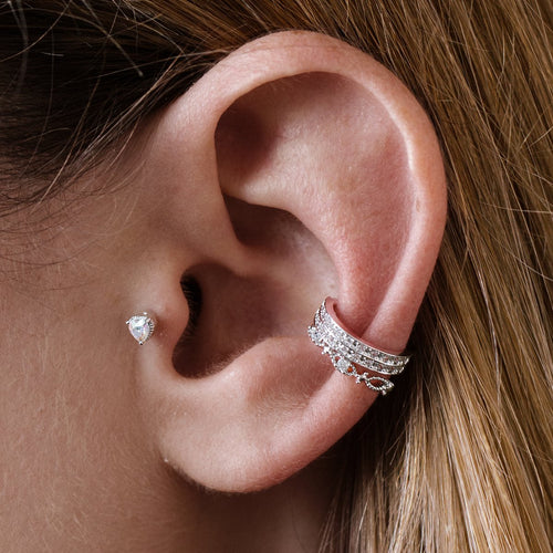 Adore Heart Tragus Helix & Conch Ear Piercing on model - silver