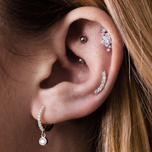 Arc Gem Tragus & Helix Ear Piercing on model - 10KT solid gold