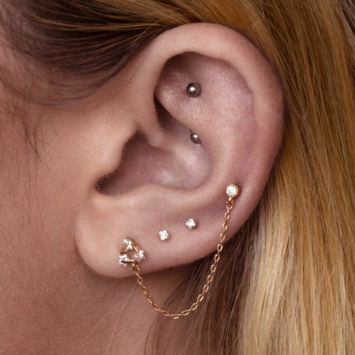 Astro Chain Ear & Cartilage Piercing on model - rose gold