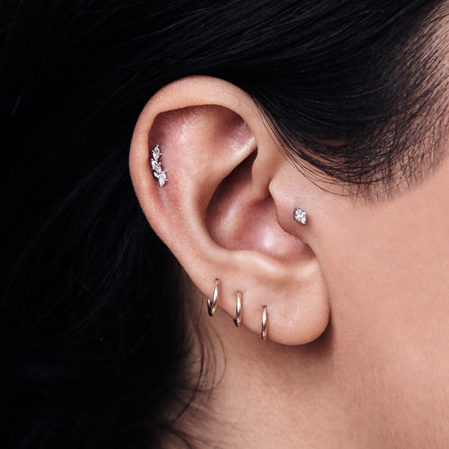 Blitz Gem Tragus Helix & Conch Ear Piercing on model - silver