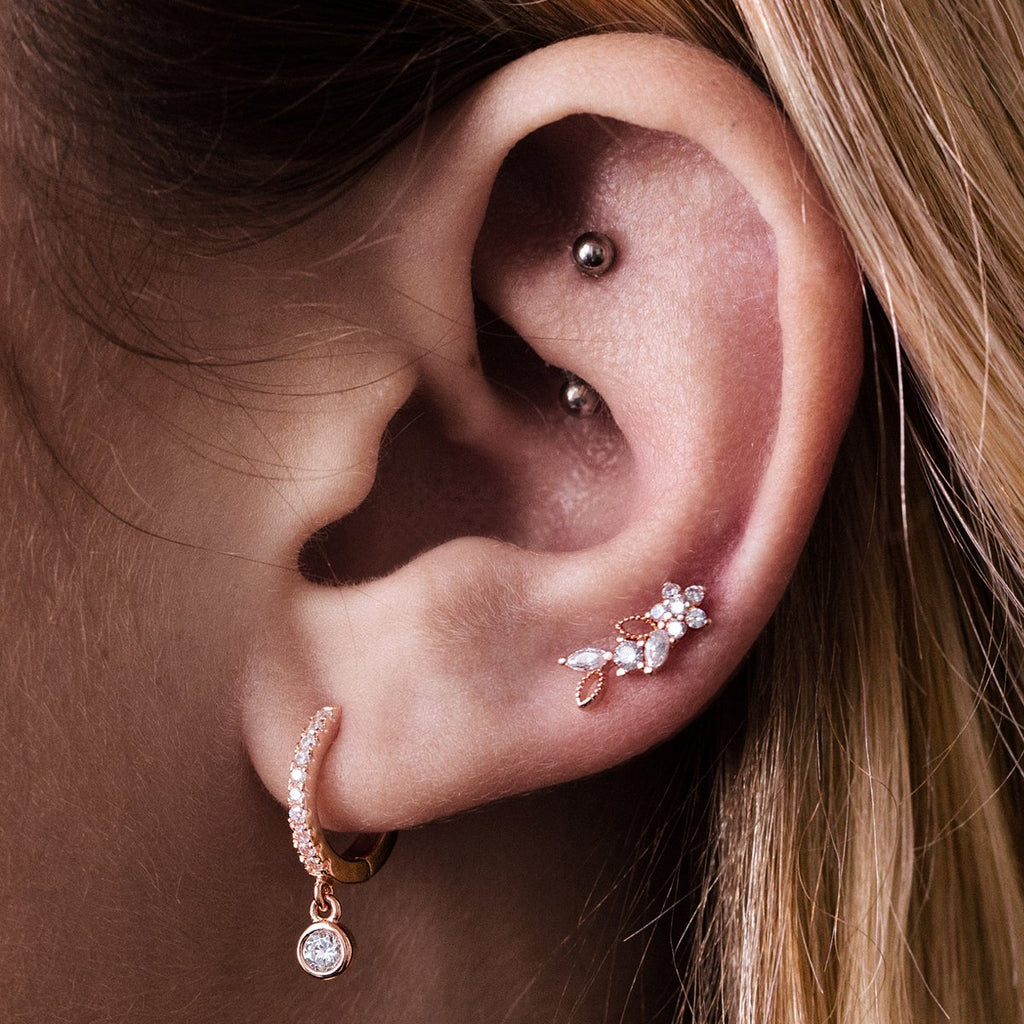 Bouquet Flower Tragus Helix & Conch Ear Piercing on model - rose gold