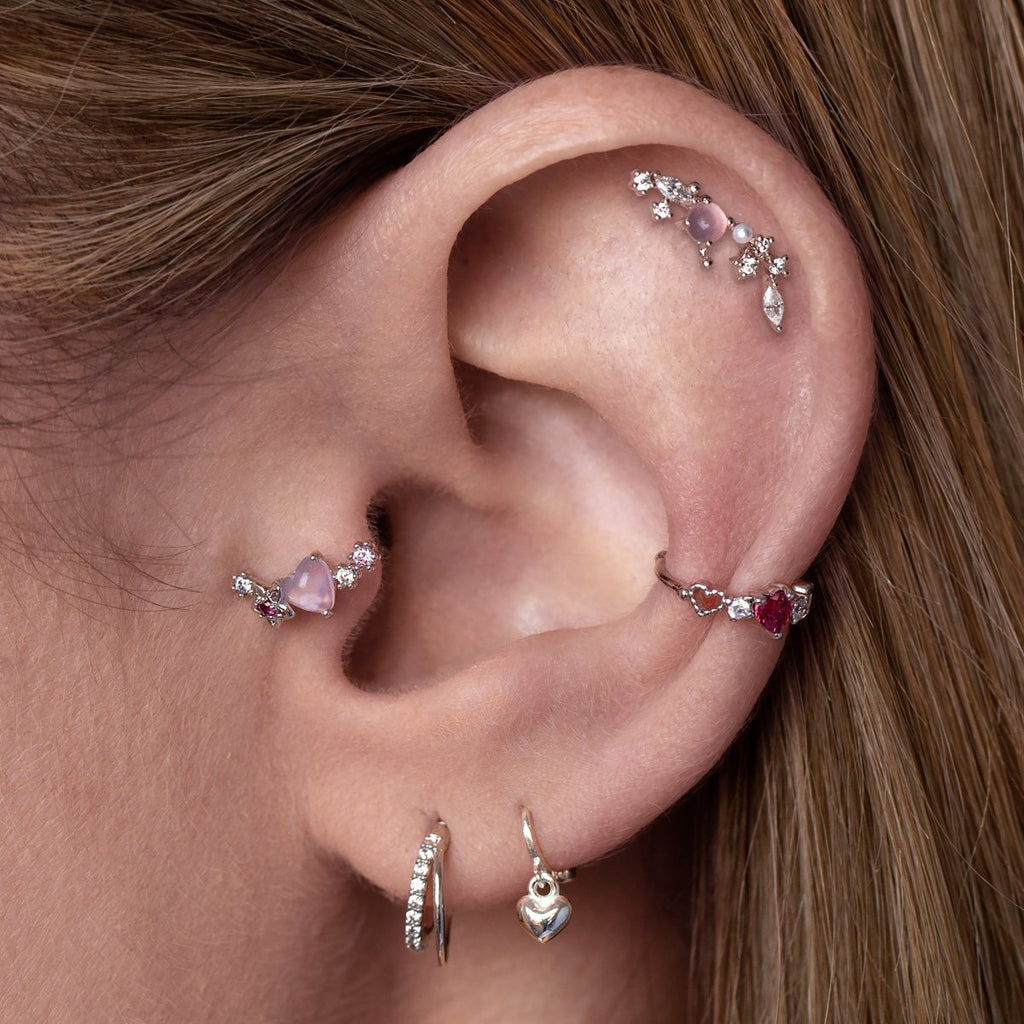 Fantasy Tragus Helix & Conch Piercing on model - silver