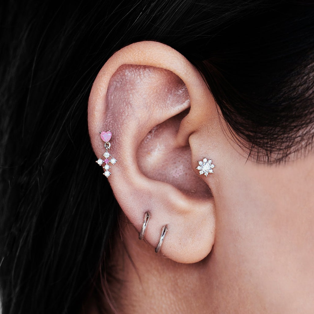 Fullbloom Flower Gem Tragus Helix & Conch Ear Piercing on model - crystal