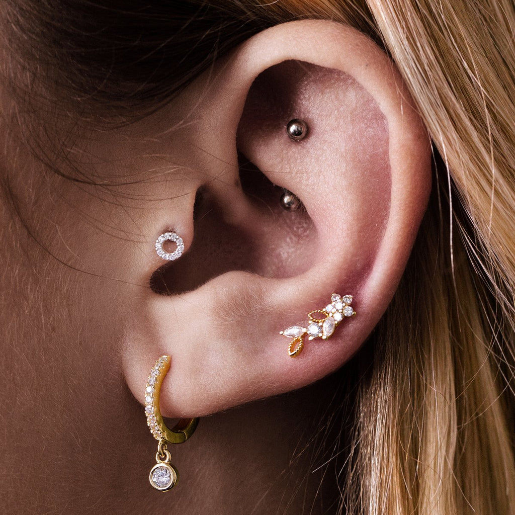 Halo Gem Tragus Helix & Conch Piercing on model - sterling silver