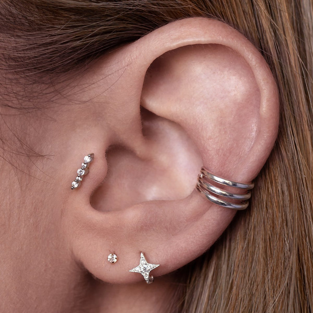 Isla Gemstone Tragus Helix & Conch Piercing on model - silver