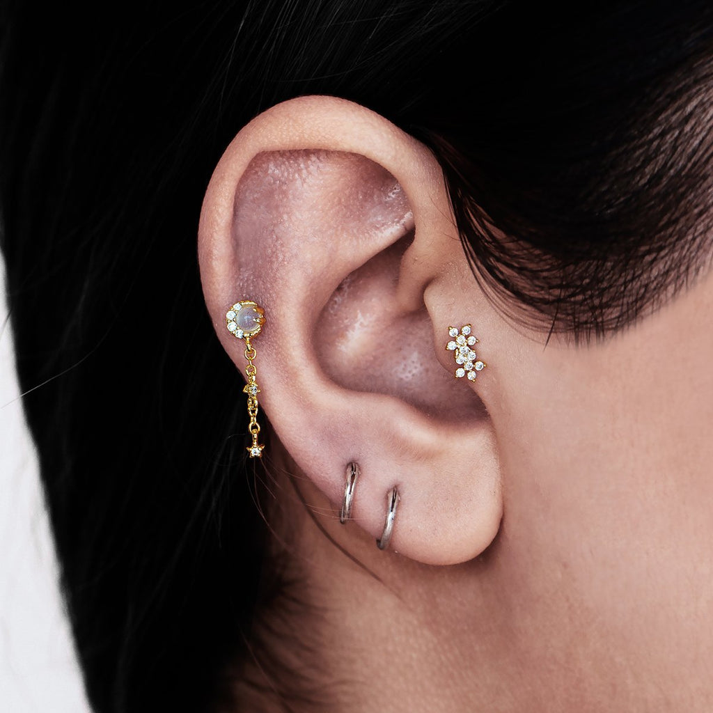 Lullaby Moonstone Chain Ear Piercing on model - gold
