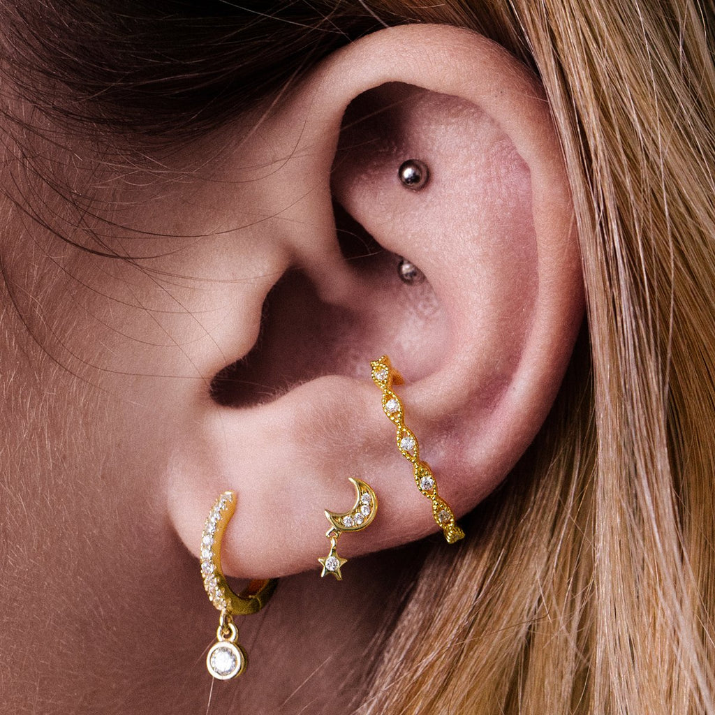 Moonlight Star Charm Tragus Helix & Conch Piercing on model - 14KT solid gold