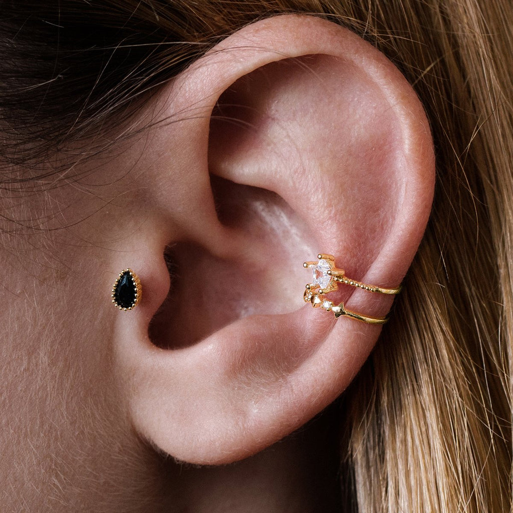 Onyx Teardrop Tragus Helix & Conch Ear Piercing on model - gold