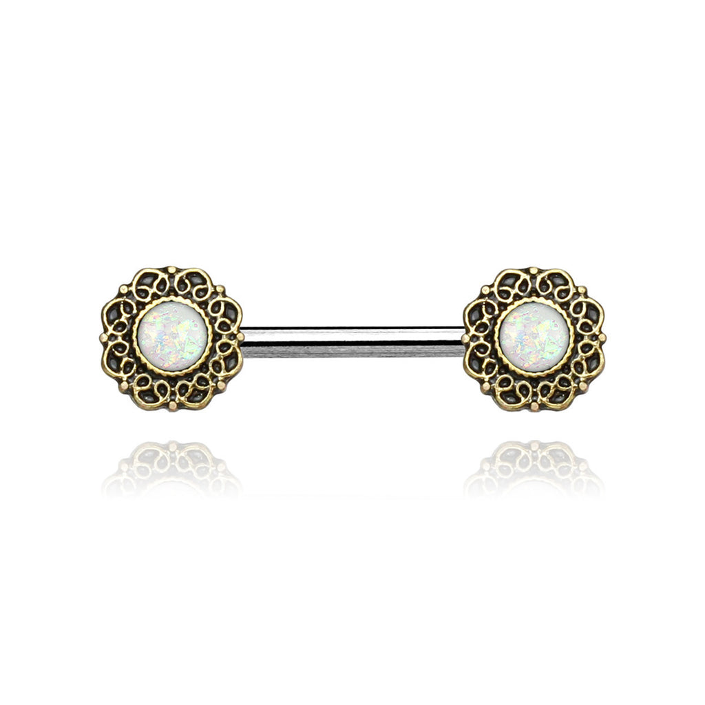 Opal Filigree Nipple Bar - vintage gold