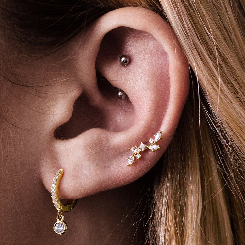 Blossom Gemstone Tragus Helix & Conch Ear Piercing on model - gold