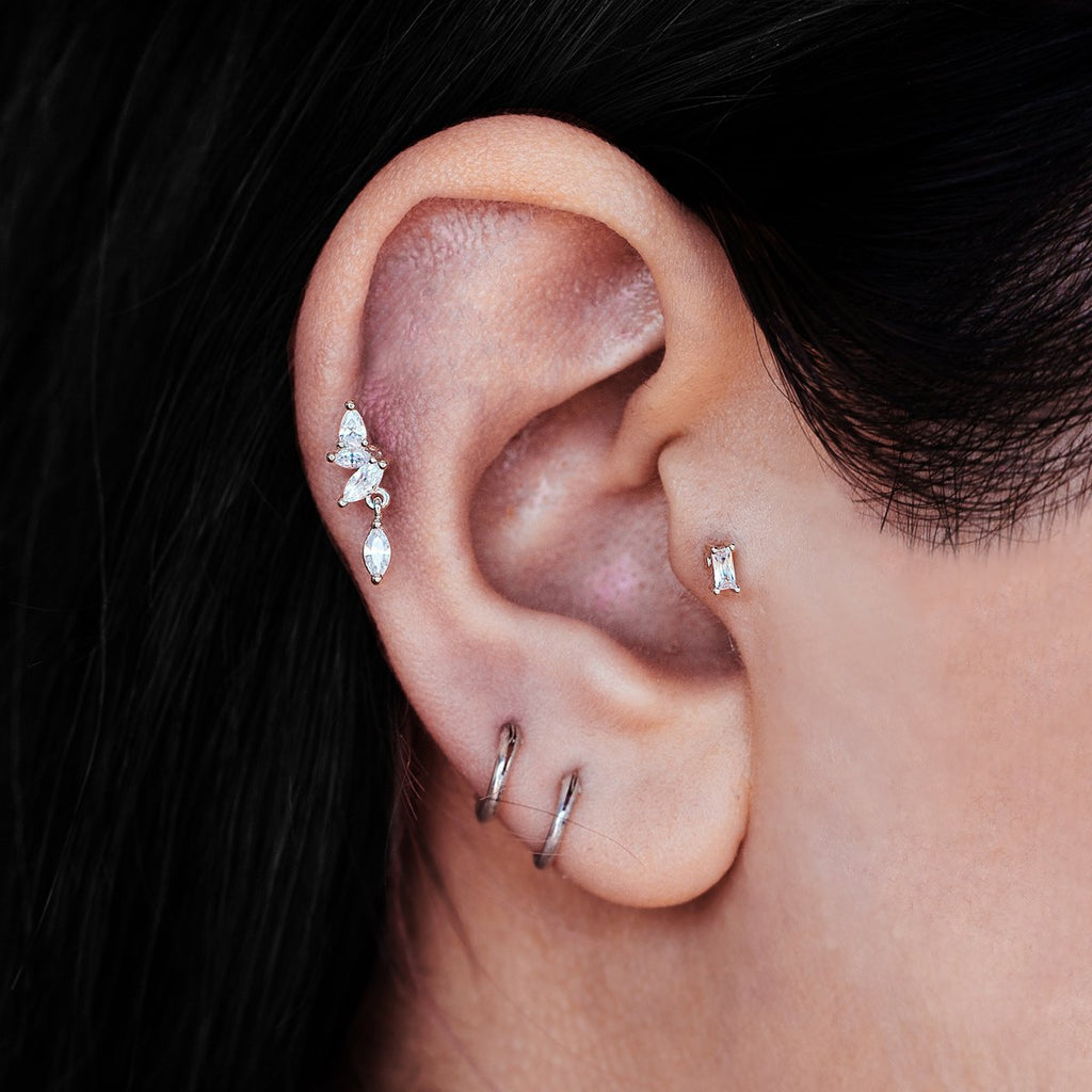 Petals Dangle Gem Tragus Helix & Conch Ear Piercing on model - silver