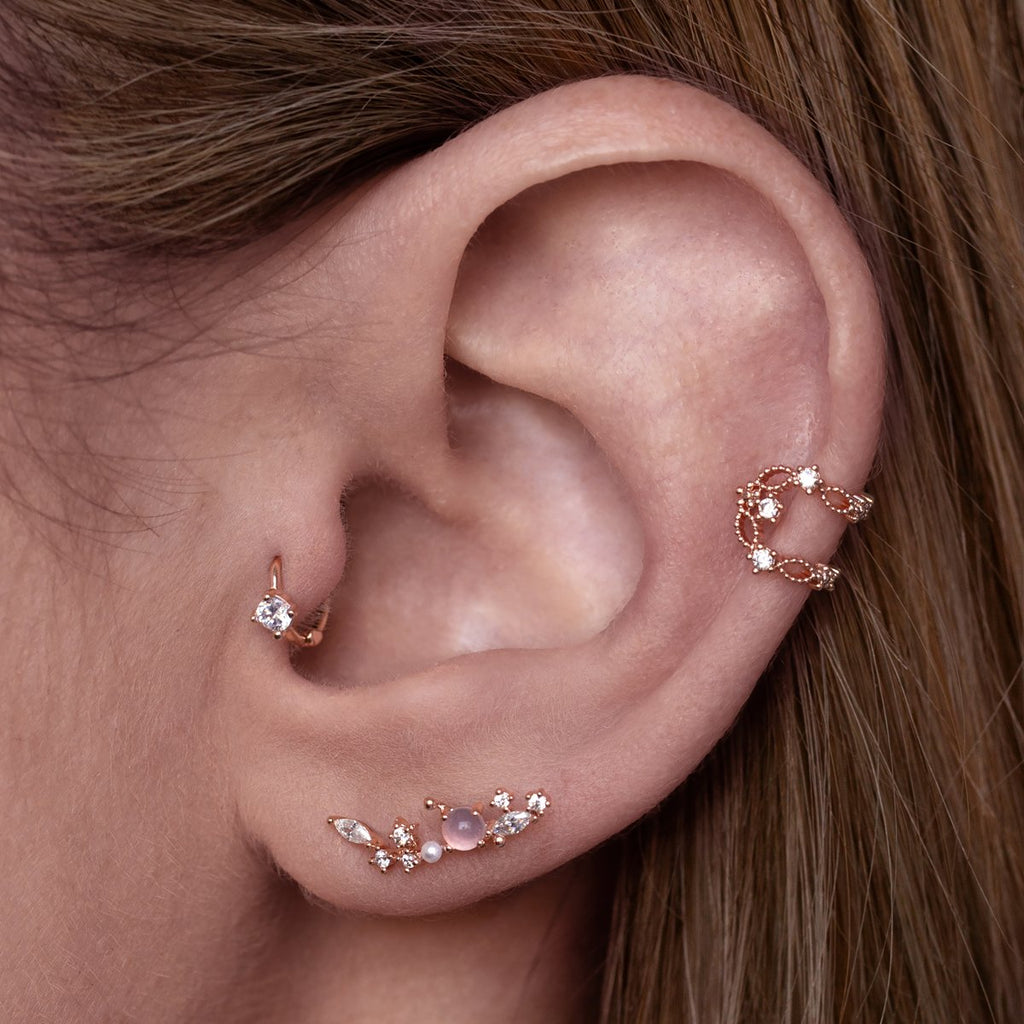 Riri Helix & Cartilage Ear Piercing on model - rose gold