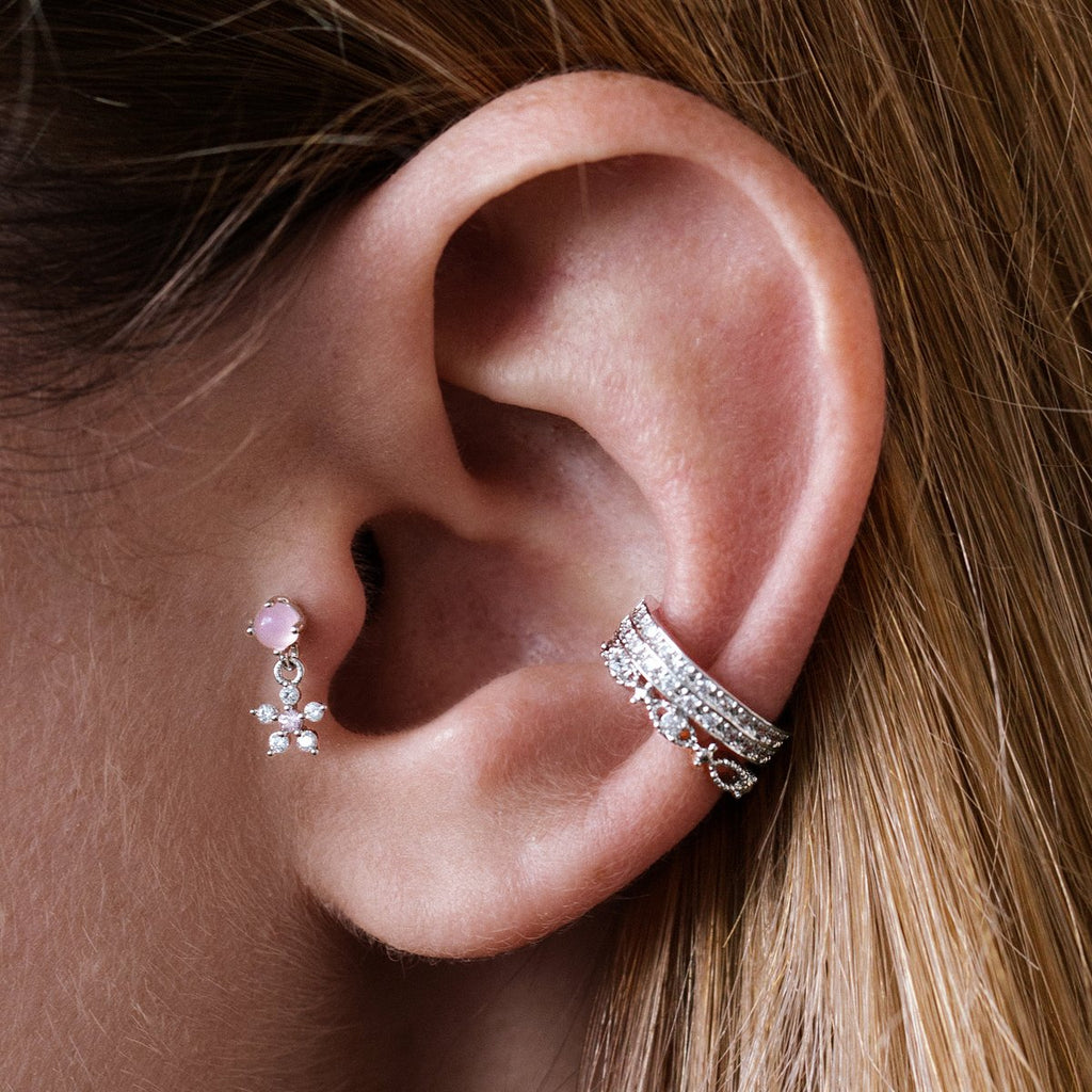 Sakura Flower Charm Tragus Helix & Conch Piercing on model - silver