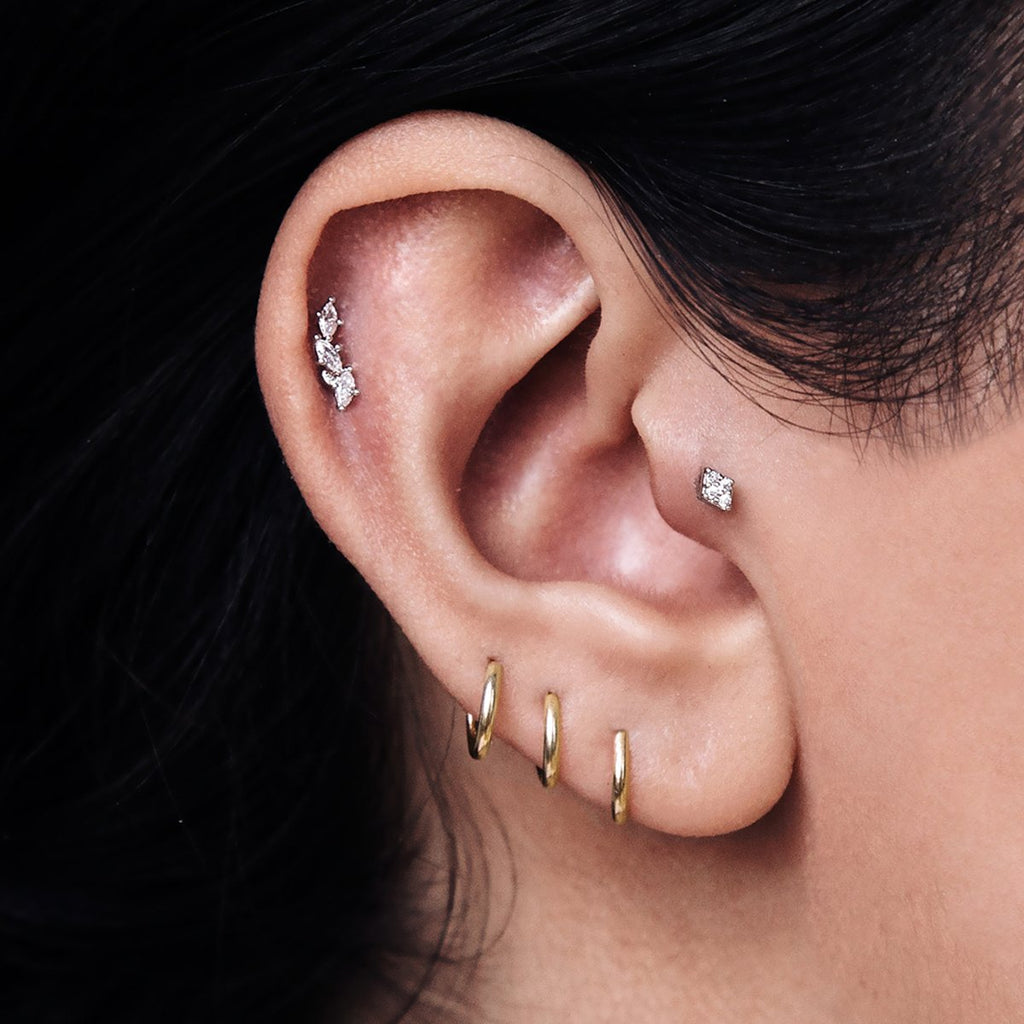 Segment Hoop Helix Daith & Cartilage Ear Piercing on model - 14KT solid gold