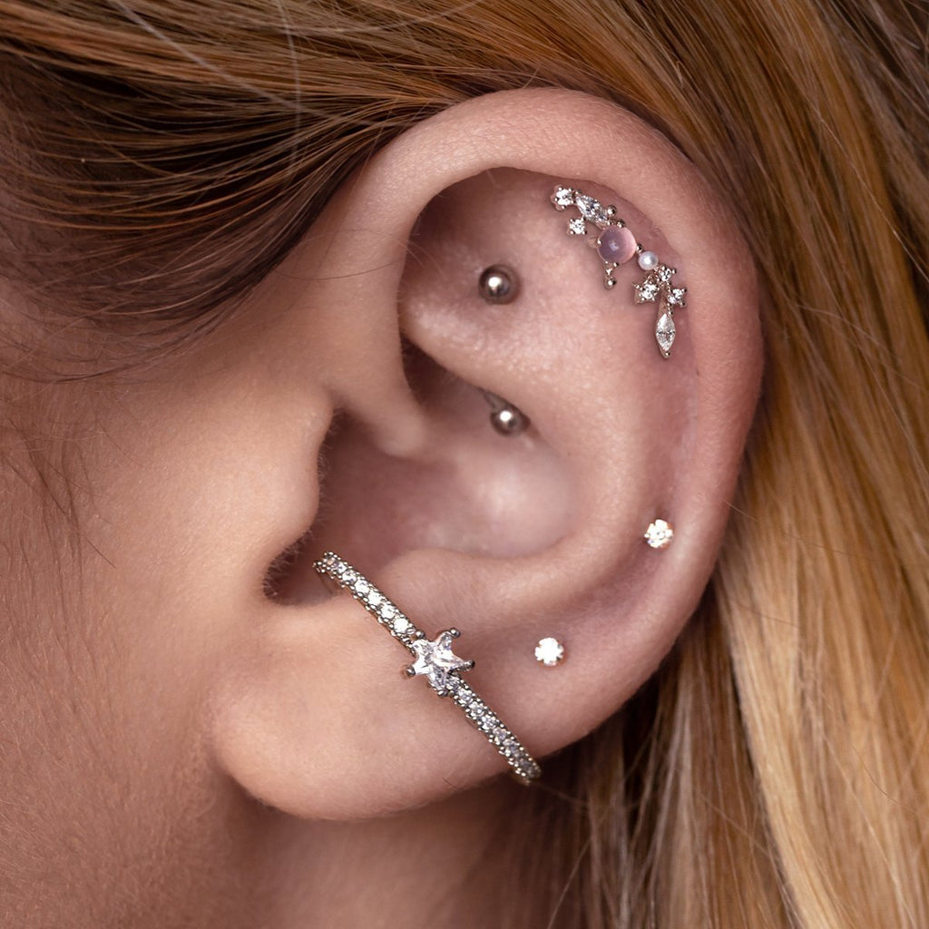 Sol Cuff Helix & Cartilage Ear Piercing on model - silver