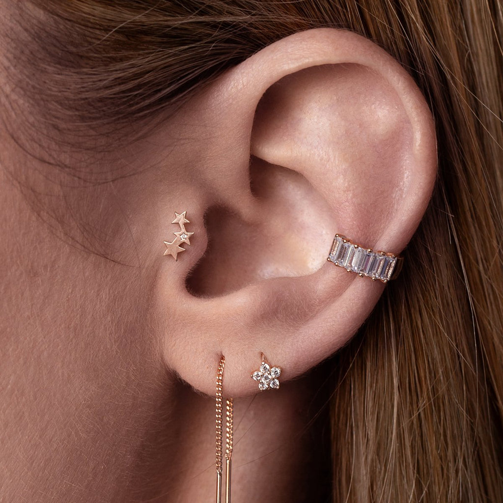 Starlet Tragus Helix & Conch Piercing on model - 14KT rose gold