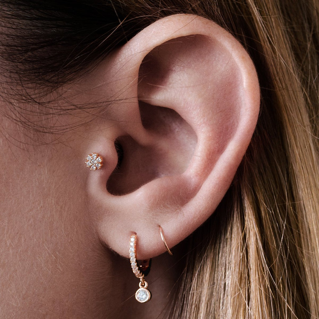 Sugar Gem Tragus Helix & Conch Ear Piercing on model - rose gold