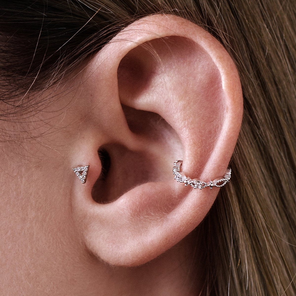 Trinity Tragus Helix & Conch Ear Piercing on model - silver
