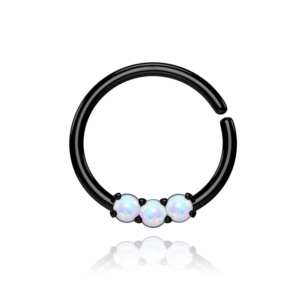 Triple Opal Cartilage Hoop - black