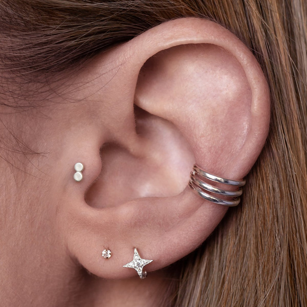 Double Pendant Tragus Helix & Conch Piercing on model - sterling silver