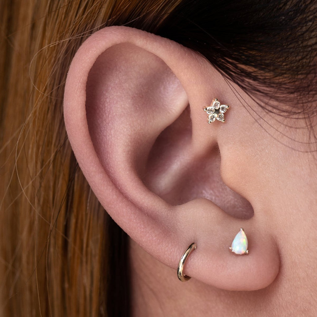 Wildflower Tragus Helix & Conch Piercing on model - sterling silver