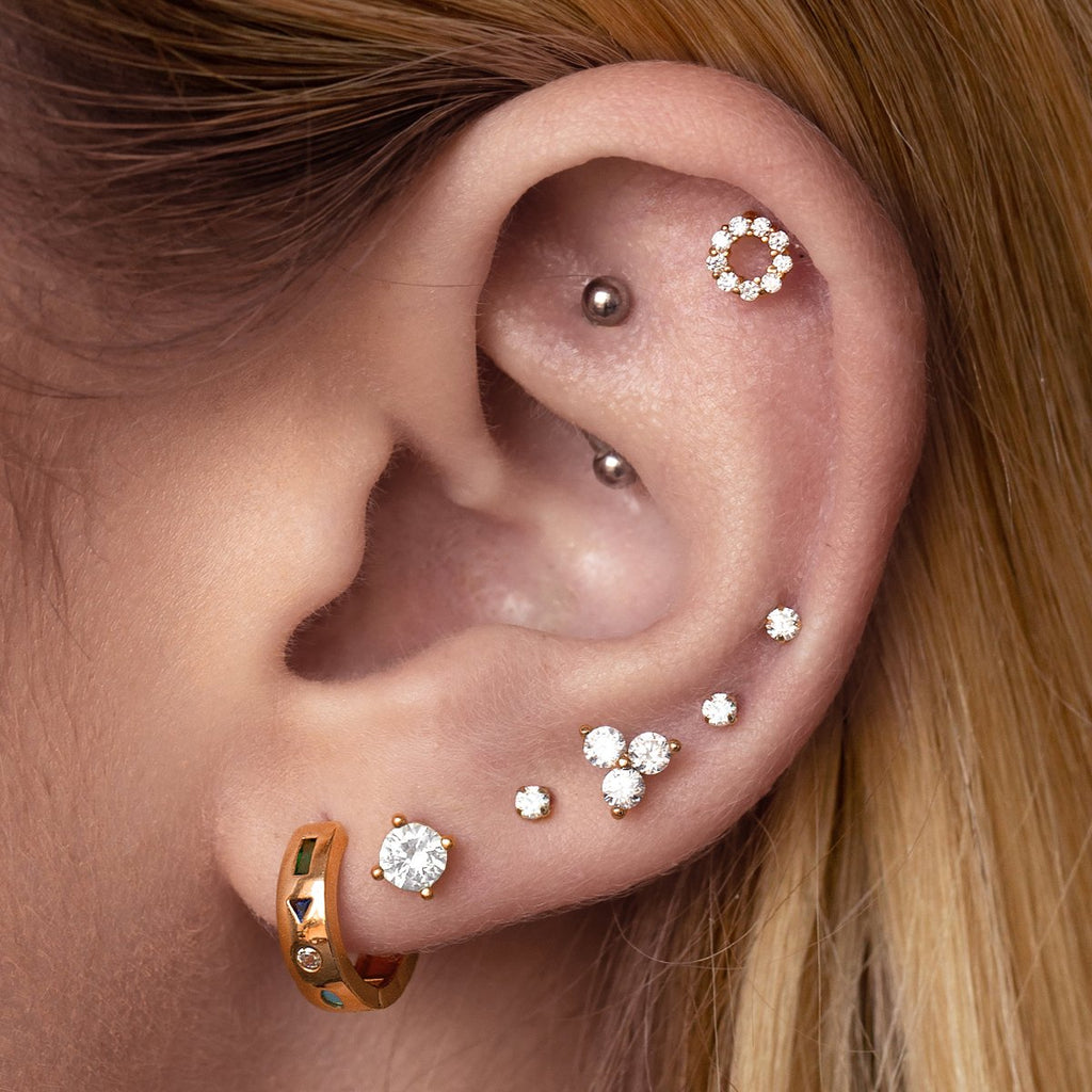 Alchemy Crystal Stud Earrings on model - rose gold