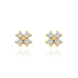 Clover Gemstone Stud Earrings - 10KT solid gold
