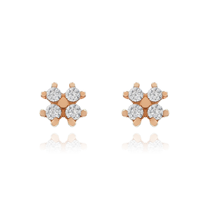 Clover Gemstone Stud Earrings - 10KT solid rose gold
