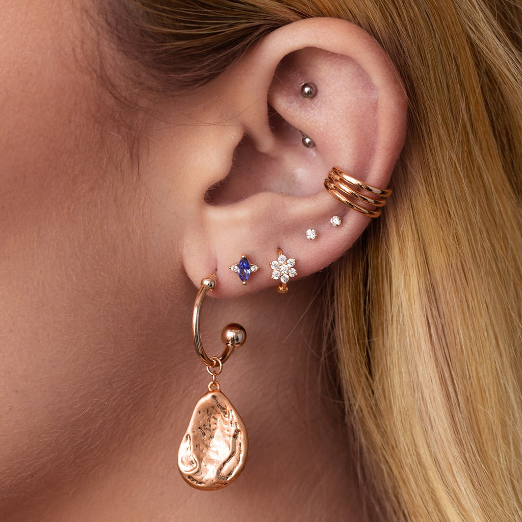 Paradise Gemstone Stud Earrings on model - rose gold