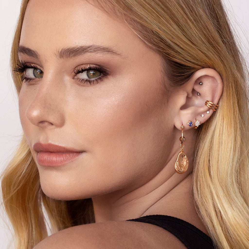 Paradise Gemstone Stud Earrings on model 2 - rose gold