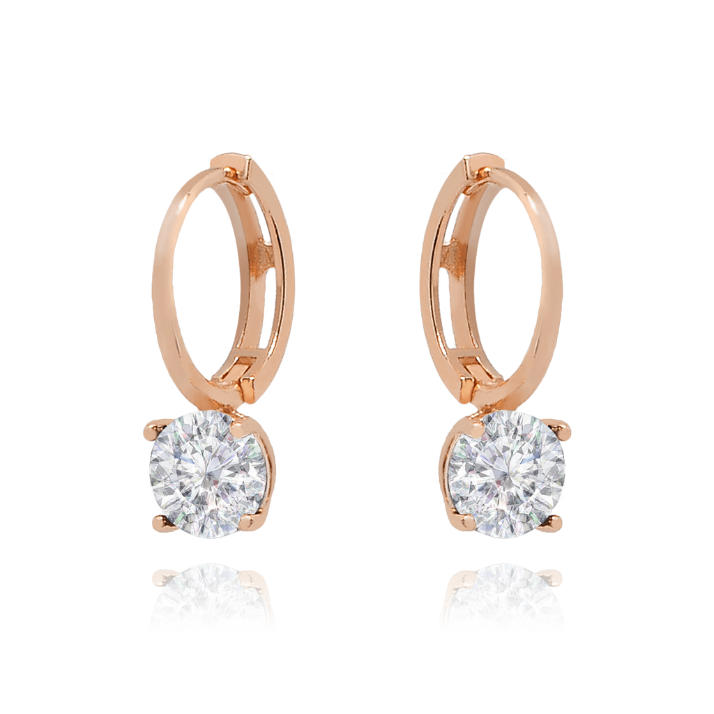 Crystal Sleeper Hoop Earrings - rose gold