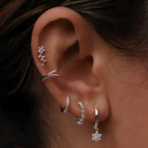 Bloom Tragus Helix & Conch Ear Piercing on model - sterling silver