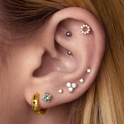 Alchemy Stud Earrings on model - gold