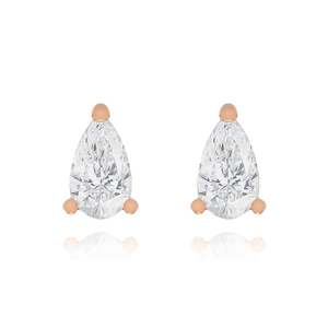 Elixir Teardrop Gemstone Stud Earrings - rose gold